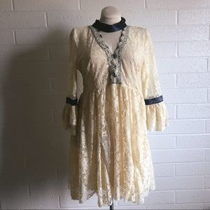 Free People Ivory Gilded Mini Lace Dress